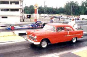 Red 55 Chevy drag racer
